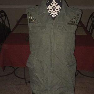 BDG Green Studded Vest